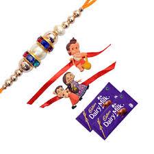sparkling family rakhi set with chocolate