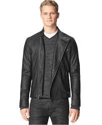 lyst calvin klein ck jeans textured faux leather moto jacket in