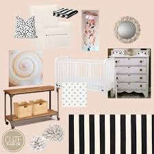 black white peachy pink nursery ideas