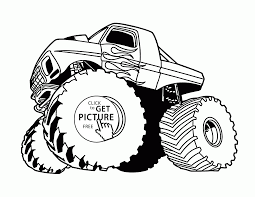 Monster Truck With Flame Coloring Page
