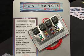 dragzine com ron francis wiring harness for early bronco besides eight additional fuses and an additional relay over the bare bonz race kit, the express race kit has all the same features as the full vehicle