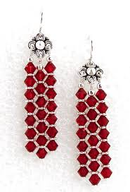 helen s red crystal chandelier earrings