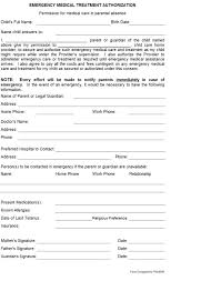 Emergency Form For Daycare Emergency Medical Treatment Authorization A Childs Best