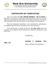 Ojt Fm 05 2016 Issue 1 Revision 0 Certificate Of Completion