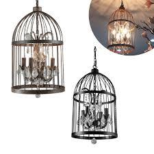 Bird Ceiling Light Fixture 4 Lights Bird Cage Chandelier Pendant Lamp Vintage Crystal Ceiling Light Black Ebay