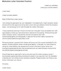 motivation letter volunteer position example  just letter templates volunteering motivation letter