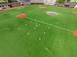 grass field aerial. Aerial View Of Project On Baseball Field Grass O