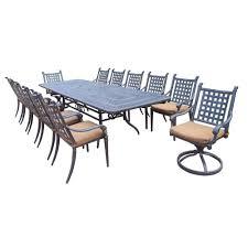 oakland living extendable cast aluminum 13 piece rectangular patio dining set with sunbrella cushions