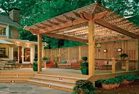 backyard deck design. Deck Pergola Plans Backyard Design