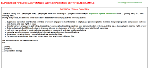 Co2 Pipeline Manager Work Experience Certificates