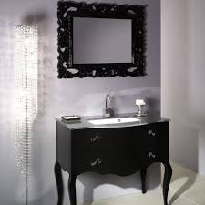 unique wood black bathroom vanity with wood frame wall mirror also white paint wall