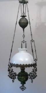 antique majolica bronze hanging oil lamp chandelier