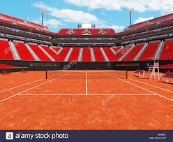 3d render of beautiful modern tennis clay court stadium with red chairs