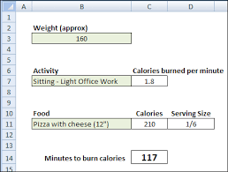 Excel Calorie Burning Calculator Contextures Blog