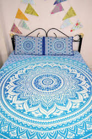 Blue Ombre Mandala Quilt Duvet Cover With 2 Pillow Covers Bedding ... & Image is loading Blue-Ombre-Mandala-Quilt-Duvet-Cover-With-2- Adamdwight.com