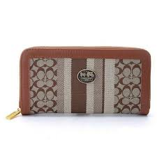 Coach Legacy Accordion Zip In Signature Large Brown Khaki Wallet