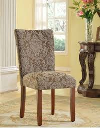 homepop elegant blue and brown damask upholstered fabric parson dining room chairs set of 2