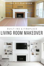 the before and after of a living room makeover with white built ins flanking a