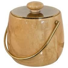 elegant midcentury modern ice bucket in goatskin by aldo tura
