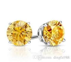 2018 2 ct round yellow canary earrings studs solid 14k white gold back basket from dingfa988 50 26 dhgate com