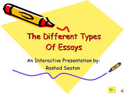 different types of essays the different types of essays an interactive presentation by rashod seaton