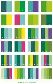 Green tone color schemes, color combinations, color palettes for print  (CMYK) and