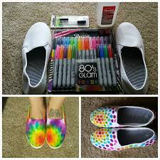 the idea is to make tie dye shoes using the following supplies white canvas shoes sharpie permanent markers 91 isopropyl alcohol