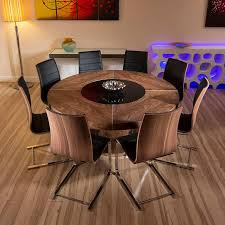Round Kitchen Table For 8 Large Round Walnut Dining Table With 8 Walnut Black Chrome