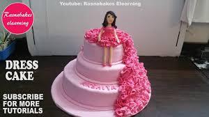 Cake Designs Birthday Girl Fondant Ruffle Birthday Girl Doll Dress Cake Design Ideas Decorating Tutorial Video