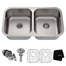 kraus premier undermount stainless steel 32 in 50 50 double bowl kitchen sink