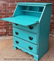 drop down secretary desk in distressed turquoise with black glaze vintage pulls painted black