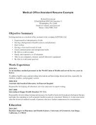 Office Assistant Objective Resume Examples For Medical Assistant Emelcotest Com