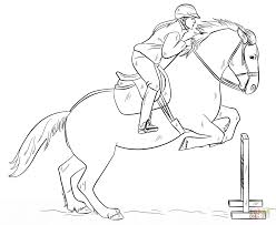 Small Picture Jumping Horse with Rider coloring page Free Printable Coloring Pages