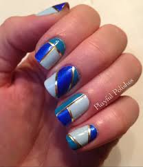 Blue Gold And White Nail Designs