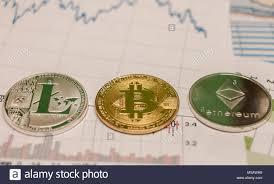 Bitcoin Litecoin Ethereum Charts Bitcoin Ethereum Litecoin Coin And Chart Stock Photo