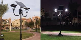 decorative solar lighting. Solar Powered Lamp At Night, Jeddah, Saudi-Arabia Decorative Lighting