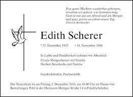 Traueranzeigen von Edith Scherer | schwaebische.de Trauerportal