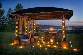 outdoor candle lighting. Interesting Lighting Backyard Gazebo With Curtains Roofing Privacy Protection And Floor Candle  Lighting Fixtures Wicker Chair Furniture Outdoor Dining Space Intended I