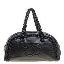 chanel black leather cc chain around bowling bag nextprev prevnext
