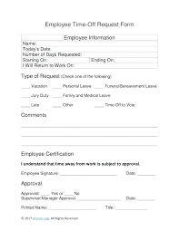 Paid Time Off Form Template Time Off Request Form Template