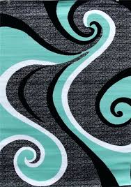 teal area rug 5x7 turquoise swirls modern contemporary abstract gray