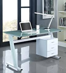 office desk glass white modern glass computer desk with storage and minimalist cantilever lighting large size