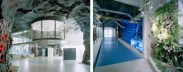 converted from an old anti atomic shelter and located 30 meters beneath the rock in vita berg park stockholm white mountain is an amazing office space amazing office space