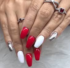 Red And White Nail Designs Topic For Red And White Nails Glitter Pink And White Solar