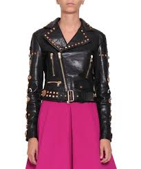 l inde le palais fausto puglisi women collections fall winter 17 18 leather jacket with studs nd stones