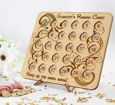 Coin Chart For Kids Personalised Childens Reward Chart Board Wooden 1 Coin