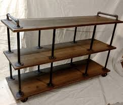 industrial tv stand iron and wood for  to  tvs