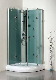 LineaAqua Sapphire 36 x 36 Semi Round Glass Shower Enclosure with Shower  Panel, Body Sprays, Acrylic Tray