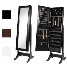 mirrored jewelry cabinet armoire w stand mirror rings necklaces bracelets walmart