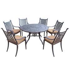 oakland living cast aluminum 7 piece round patio dining set with sunbrella cushions